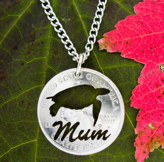 Personalized 'Mum' necklace with Turtle Hand cut Coin