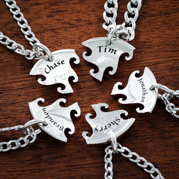 5 Best Friend Necklaces, Custom Name Necklaces, BFF Gifts for 5, Interlocking Puzzle Jewelry