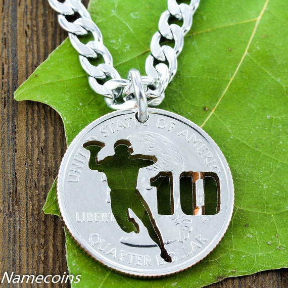 Personalized Football Player Necklace with Your Jersey Number, Quarterback, Hand Cut Quarter