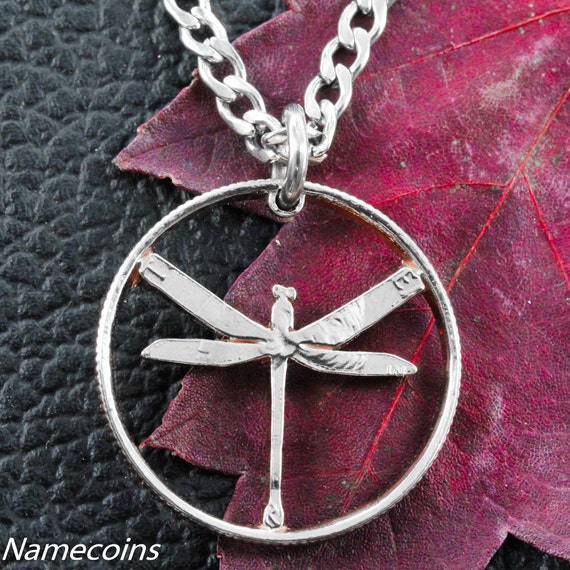 Dragonfly Necklace, Dainty Jewelry, Hand Cut Coin