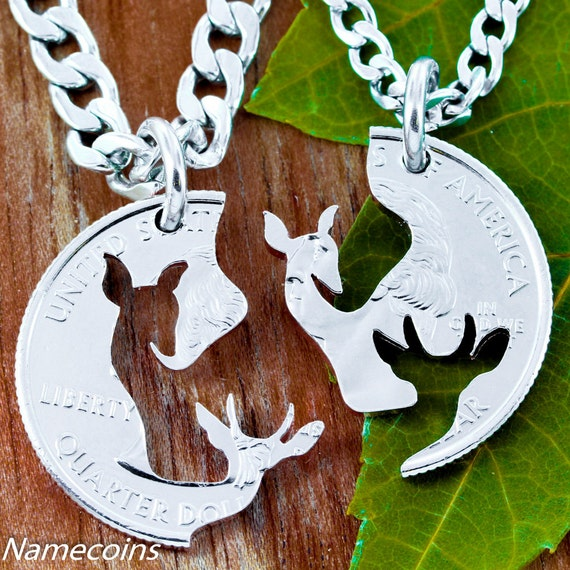 Buck and Doe Couples Necklaces, Brother and Sister, Quality STAINLESS STEEL Chains, Couples Puzzle, hand cut coin