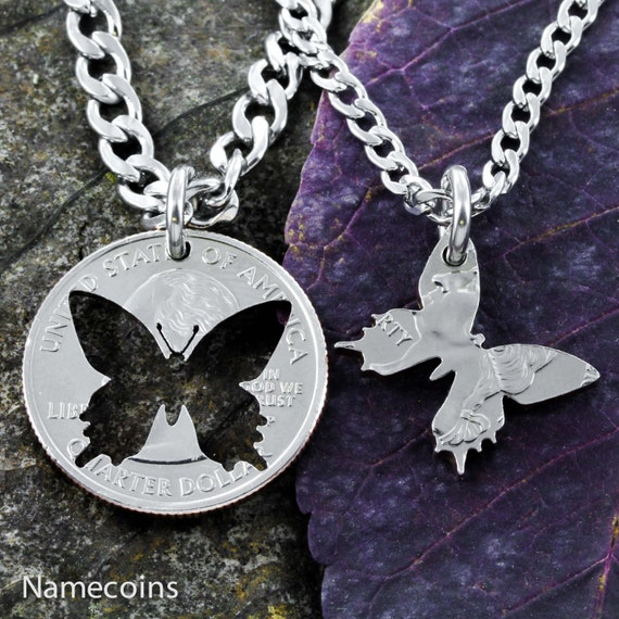 Butterfly Best Friends Necklaces, BFF Gifts, Inside and Outside pieces, Hand Crafted Cut Quarter