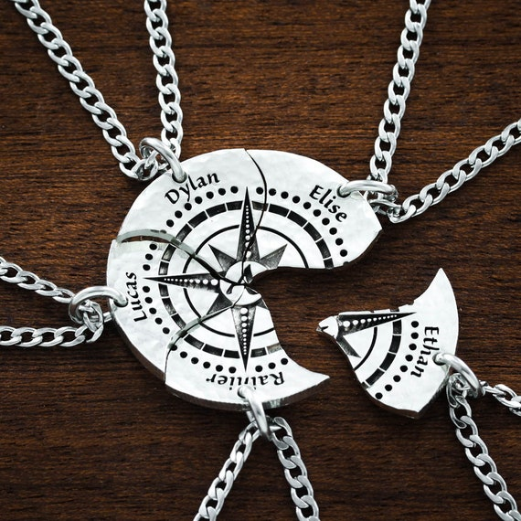 Family of 5, Compass Necklace, Deeply Engraved Names Puzzle Jewelry, Best Friends or Family Hand Cut Coin Gift