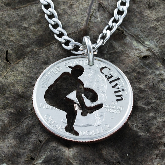 Baseball Pitcher Necklace, Engraved Name, Graduation or Championship Hand Cut Coin Jewelry