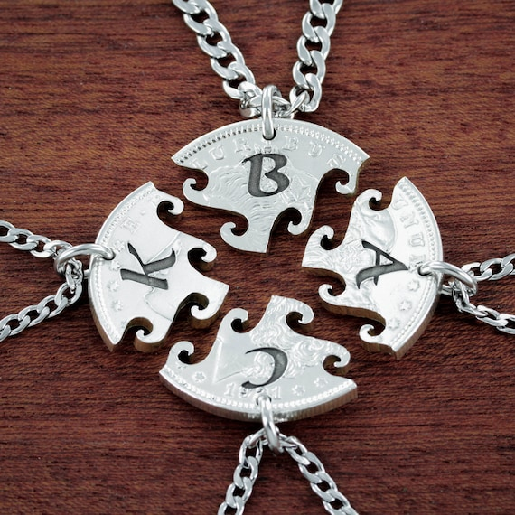 4 Best Friend Initial Necklaces, 4 BFF Gifts, Custom Friendship or Family, Interlocking Puzzle Set From a Real US Coin