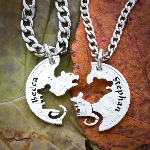 Bear and Mouse Necklace Set, BFF and Couples Necklaces, Engraved Names, Interlocking hand cut coin