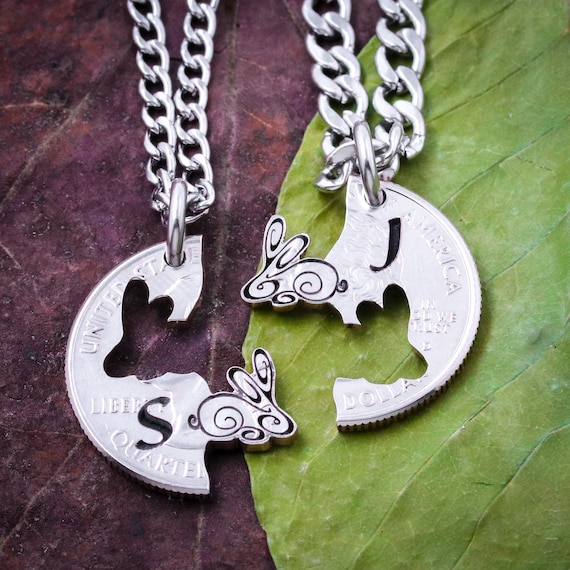 Bunny Rabbit Friendship Necklaces, Best Friends and Couples Jewelry, Initials, Relationship Jewelry