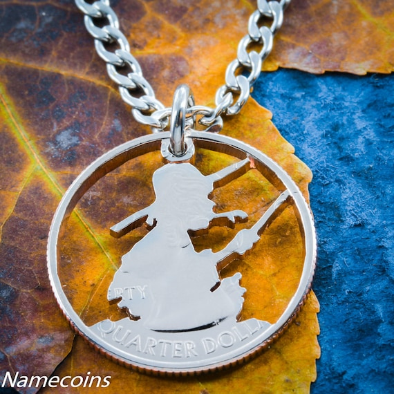 Boy Fishing Necklace, Fishermen Gift, Son Fishing, hand cut coin