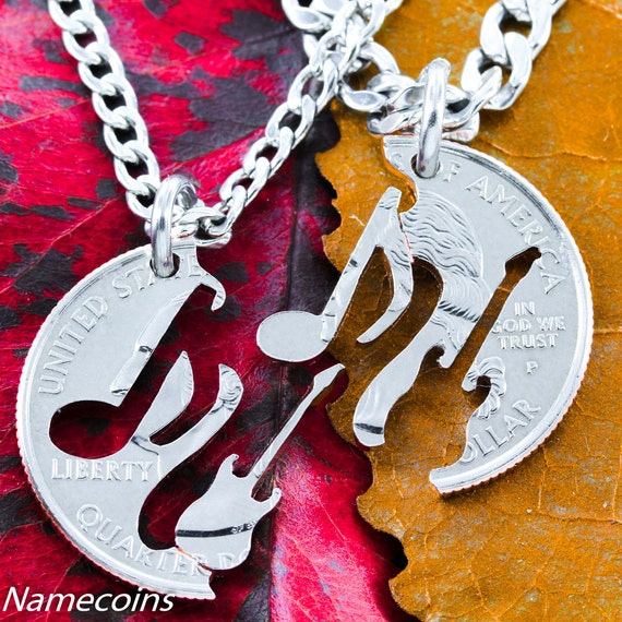 Guitar and Music Note Necklaces, BFF Gifts, Best Friends Forever, Couples Jewelry, Interlocking Hand Cut Coin