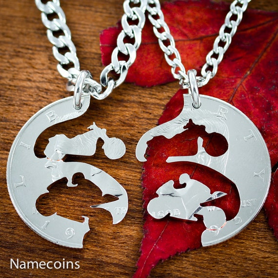 Bike Jewelry For Couples or Best Friends, Motorcycle and street bike necklace set, relationship interlocking coin necklaces