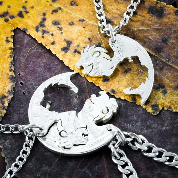 3 Lion Brothers Gift, Three Big Cat Best Friends Jewelry, Lion Head Coin Necklaces