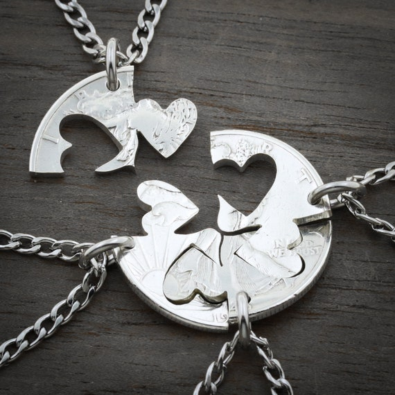 Our Hearts Together, 4 Piece Friends and Family Necklace, hand cut coin