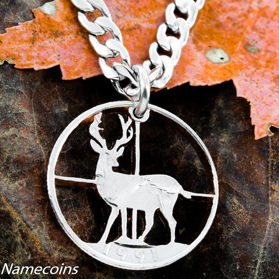 Deer hunting Jewelry, Crosshairs necklace, hand cut coin