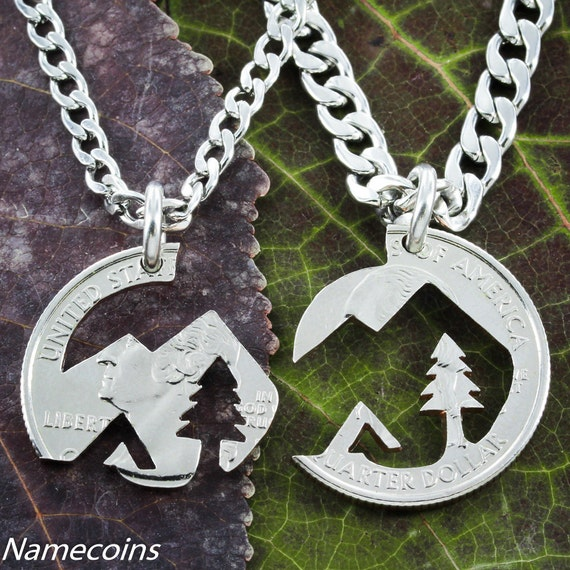Native American Mountain BFF Necklace, Best Friends or Couples Gifts, cut from a US coin, Camping lovers, interlocking Like a Puzzle