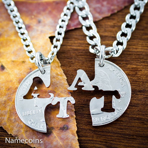 Initial Necklaces for Best Friends or Couples, Personalized Couples Jewelry, BFF Gifts, Hand Cut Coin