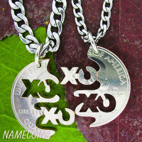 XO BFF Necklaces, Best Friends Friendship Jewelry, XOXO Hugs and Kisses Interlocking Quarter, Hand Cut Coin
