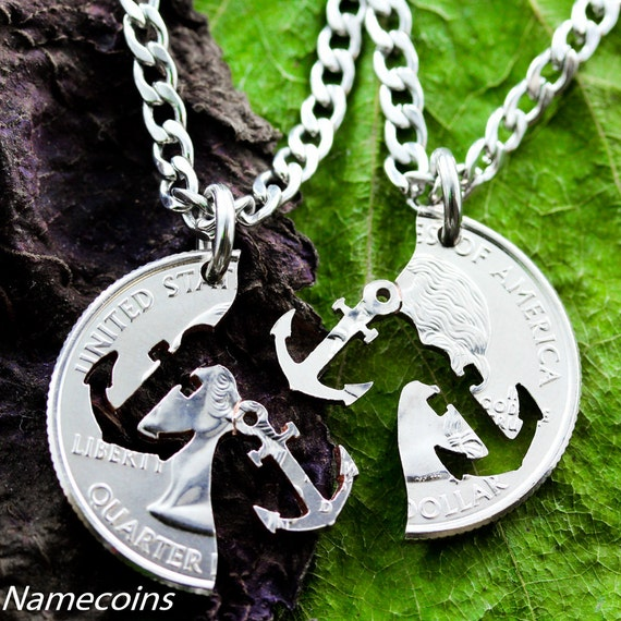 Anchor Best Friends Necklaces, Couples or Friendship Jewelry, BFF Gifts, Relationship Set, Hand Cut Coin