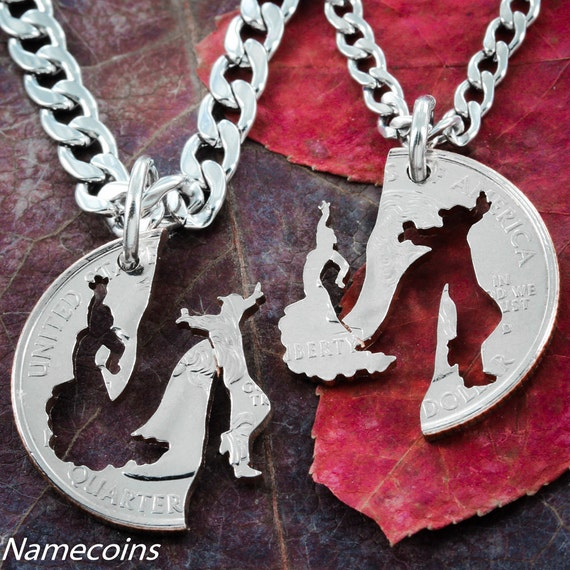 Ballroom Dance Necklace For 2, Couples Jewelry, His and hers flamenco dancing, Best Friends Gift, BFF, Hand cut coin