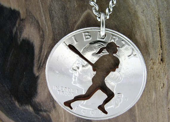 Softball Necklace, Sports Gifts for Her, Hand Cut Coin