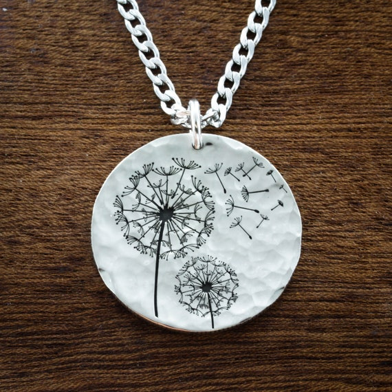 Silver Dandelion Necklace Blowing in the wind, Artsy Gift, Engraved Name on back Hammered Silver Dime