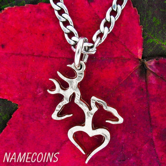 Buck and Doe Heart Necklace, Hunting Couples Gift, Quarter No Rim, Hand Cut Coin