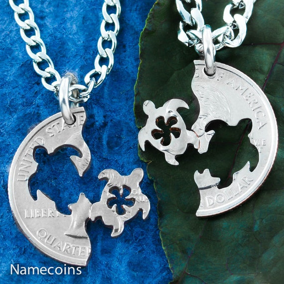 Sea Turtle BFF Necklaces with Flowers, Best Friend Gifts, Interlocking Like a Puzzle, Friendships and Couples, Hand cut coin