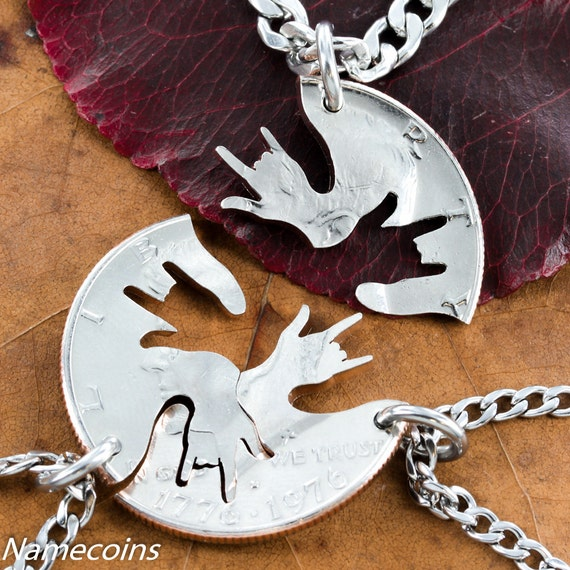 3 Best Friend Necklaces, ASL I Love You Hands, 3 BFF Gifts or Family Jewelry, Hand Cut into a Half Dollar