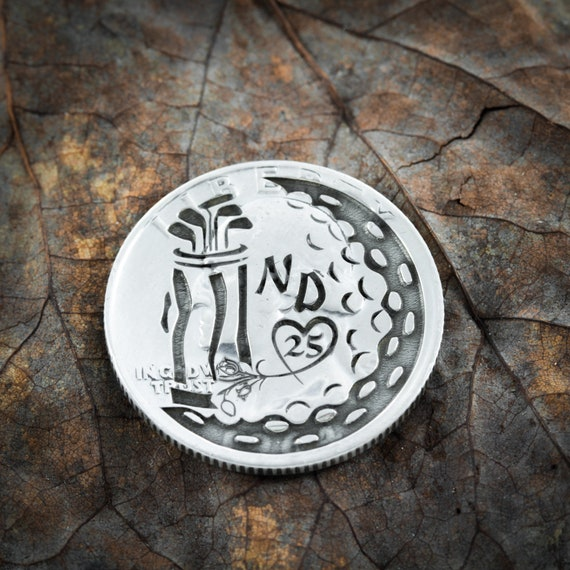 Custom Anniversary Gift, Engraved Silver Golf Ball Marker, Custom Initials and Anniversary Year, Real Silver Engraved Quarter