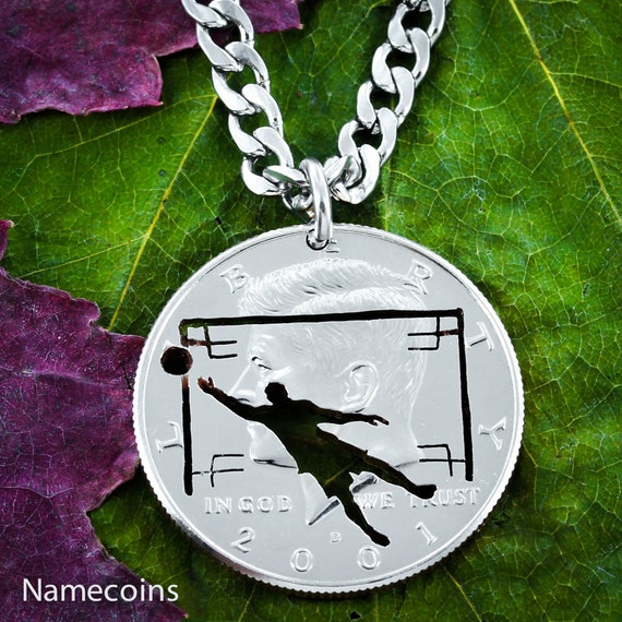 Soccer Necklace, Goalie Gift, Sports Gifts for Guys, Boyfriend, hand cut coin