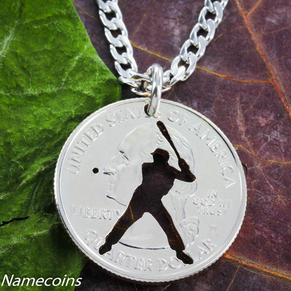 Baseball Necklace, hand cut coin Jewelry