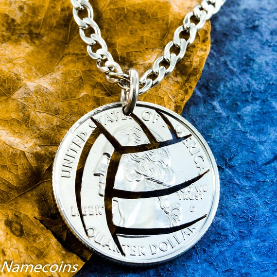 Volleyball Necklace with stainless steel chain, Sports Gifts For Girls Or Guys, hand cut Quarter