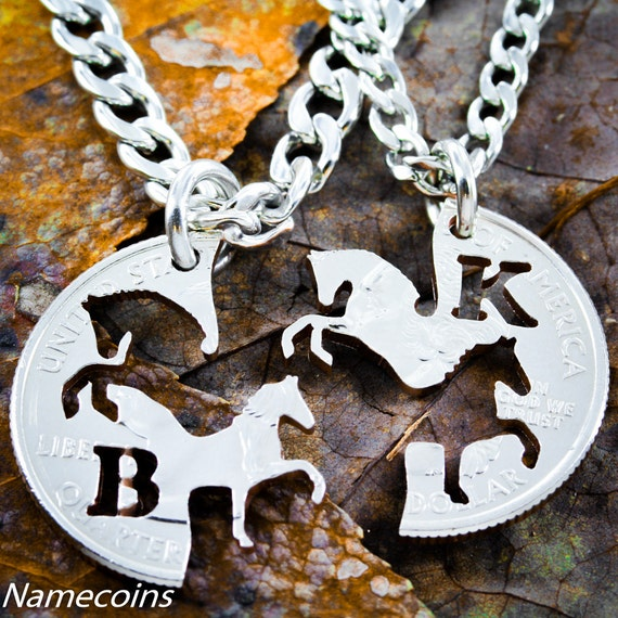 Western Jewelry, Horse Necklaces for Couples or Best Friends, Custom initials, Cowboy and Cowgirl, Prancing and Rearing Horses