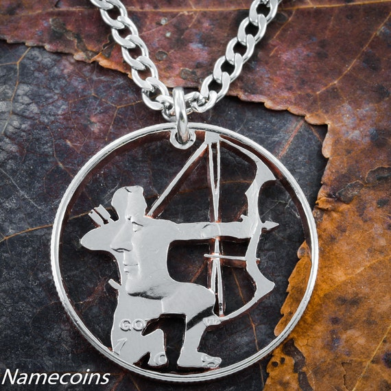 Hunting Jewelry, Compound Bow and Arrow Necklace, Gifts for Men, Hand Cut Half Dollar