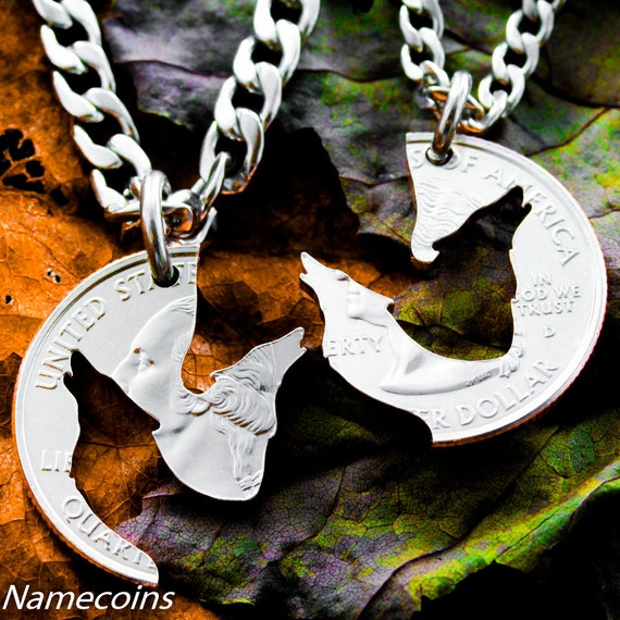 Wolf Necklace Howling Wolves Jewelry, BFF Gifts, Best Friends Forever Necklaces, Interlocking Puzzle set, Made from a Hand Cut Quarter