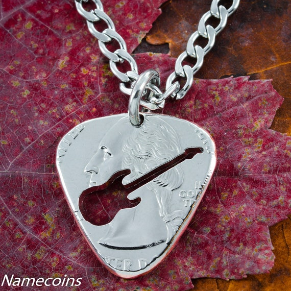 Guitar Pick Necklace cut and burnished by hand from a coin