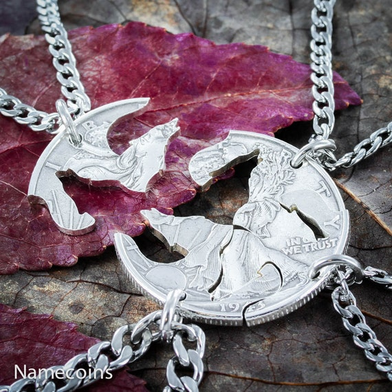 4 Friends Wolf necklaces, BFF Gifts for 4, Interlocking Like a Puzzle jewelry set, hand cut coin
