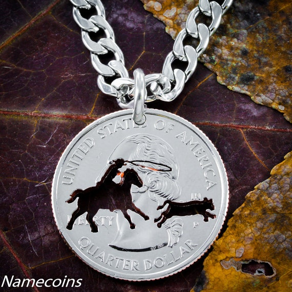 Calf Roper Necklace or Key Chain hand cut into a quarter