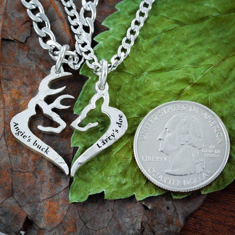 Heart Jewelry His Buck Her Doe Necklace Custom Names engraved Hand Cut Coin