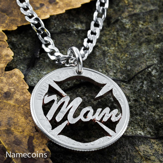 Fire fighter Mom Necklace, Emergency Responder family, Fire Fighters Mother gift