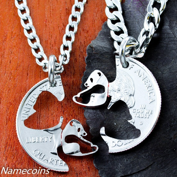 Panda BFF or Couples Necklaces, Asian Jewelry, Best Friend Gifts, Interlocking Couples Necklaces, Hand Cut Coin