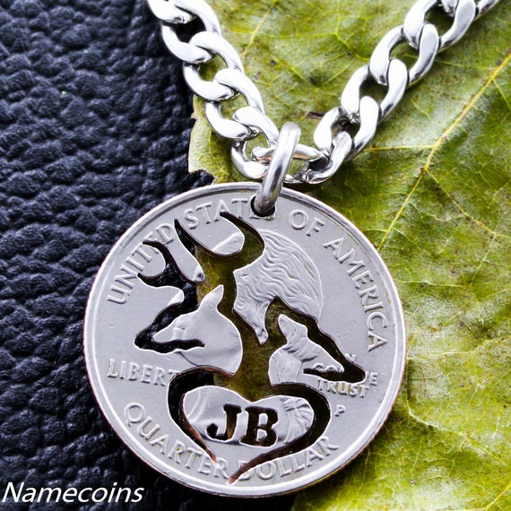 Buck and Doe with initials in heart Necklace, hand cut quarter