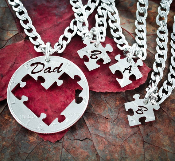 Dad Puzzle Necklaces, 4 piece, for Fathers and Children, initial Jewelry,  Hand Cut Coin