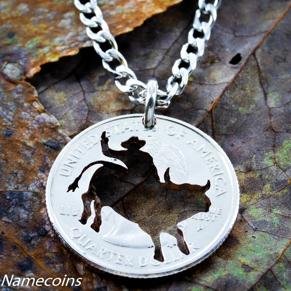 Bull Rider Necklace, Western Gift, Gift Ideas for guys, Boyfriend Necklace, hand cut coin
