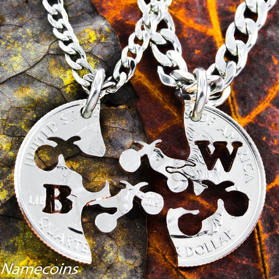 Dirt bike BFF Necklaces for 2, Best Friends Gifts, custom with your initials, extreme couples Interlocking like a puzzle, hand cut coin