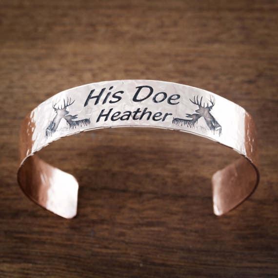 Buck and Doe Copper Cuff With Custom Name, Hammered Copper Cuff, His Doe, Boyfriend and Girlfriend Gift, Bracelet Cuff, .6 inch width