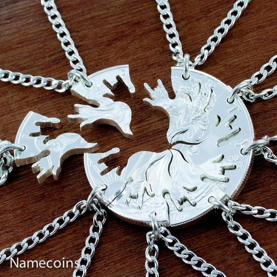 8 Silver Family Necklaces, I love you, 8 BFF Gifts, interlocking like a Puzzle set cut out of a Silver Dollar, hand cut coin