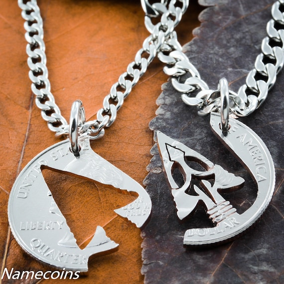 Arrowhead Necklaces For 2, Indian Jewelry, Best Friends or Couple Gifts, Handcrafted Interlocking Cut Coin