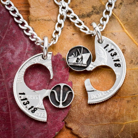 Psychology and Sailor Necklace, Psi and Longshoreman Tanker, BFF or Couples Jewelry, Anniversary Gift, Doctor or Dock Worker