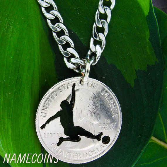 Soccer necklace, sliding kick, Sports Gifts for Guys, hand cut coin