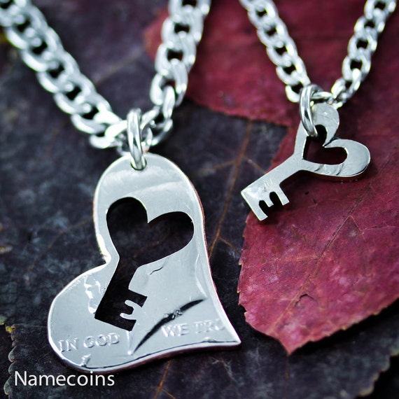 Key to My Heart Necklaces for 2, Couples Jewelry, Inside and Outside Pieces, Hand Cut Coin